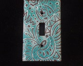 Copper Enamel light switch cover / plate / white mint turqouise