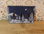 Copper Enamel lightswitch cover / plate / snow sceen / trees mountain moon / navy blue white triple