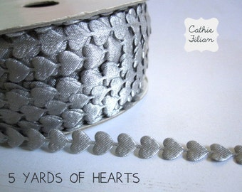 Heart Ribbon - 5 Yards - silver grey - 3/8 inch - Invitation Making, Wedding, Shower, Srapbooking