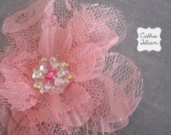 Pink Lace Flower - Sequin Center - Millinery, Hair Flowers, Pin, Bows, Headband, Baby