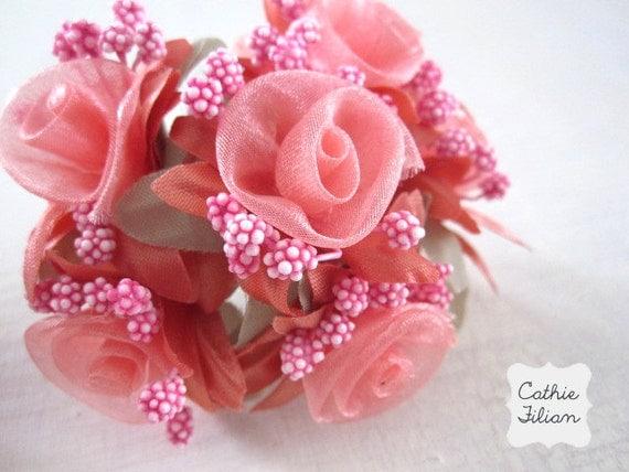 Coral Flowers - ribbon roses - 3 bundles - 18 flowers embellishment scrapbooking
