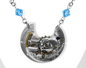 Steampunk Jewelry Necklace Vintage Etched Pocket Watch 2 Tone Gears Aqua Crystal Womens Anniversary Mothers Day Gift - Jewelry by edmdesigns