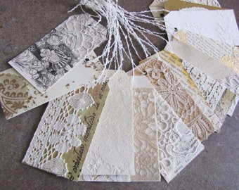 5 Vintage Lace Tags, Gift Tags, Wedding, Gold Shimmer Tags