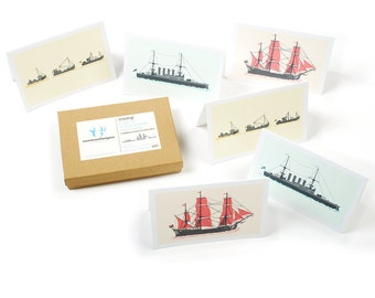 Boats Card Pack (6 fold-over cards with matching envelopes)