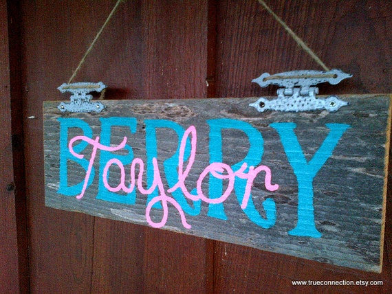 Personalized Name Sign Custom Kids Room Sign Rustic Wood Sign