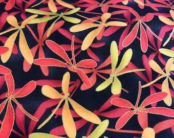SALE Kona Bay Magical Flight dragonfly red orange cotton