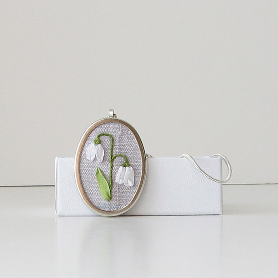 Lily of the Valley Necklace silk ribbon embroidery jewelry