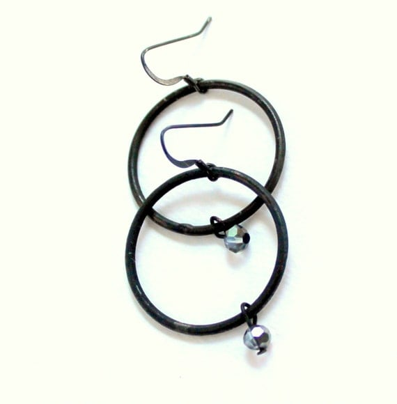 Black Earrings, Rustic Hoops, Dangle Charm Crystal, Oxidized Hoop Earrings, Artisan Earrings, Rustick Hoops, Dangling Crystal Bead