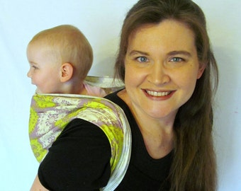 Woven Baby Wrap Carrier- Linen Blend in Funky Medallions - DVD included - choose size 6, or 8