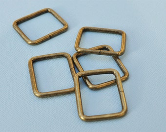 FREE SHIPPING--20 of 1 inches Non-Welded Ant Brass Rectangle Rings