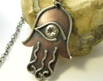 Mixed Metal Hamsa Necklace, Copper Jewelry, Rustic Jewelry, Sterling Silver And Copper Necklace, Hand Of Fatima, Metalsmith Hamsa Jewelry
