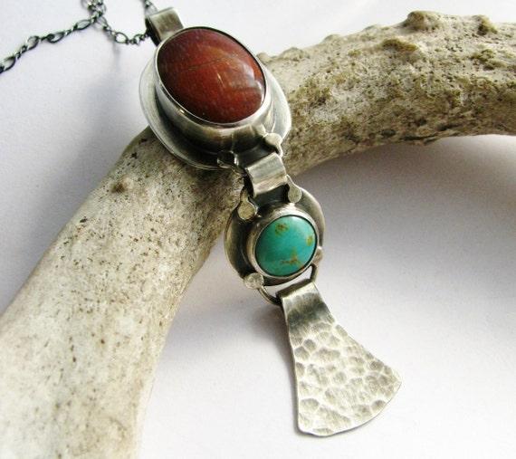 Sterling Silver Multi - Stone  Necklace -  OOAK Palm Sagenite, Kingman Turquoise Necklace - Gemstone Artisan Metalsmith Jewelry