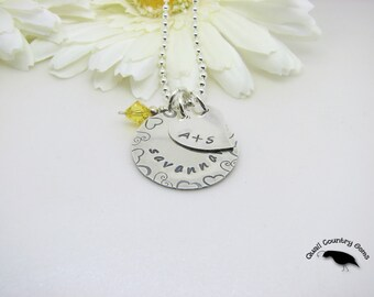 Personalized Hand Stamped Necklace with Heart and Birthstone Sterling Silver