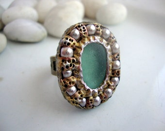 Antique Inspired Seaglass and Pearl Ring