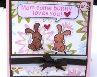 Mother's Day Card Two Bunnies and a Heart of Floral Paper, Pink and Brown, Mom, Some Bunny Loves You