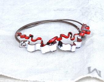 Handmade Bracelet Set - Pair of Ribbon Bangles - Handcrafted Enamel Bracelets