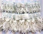 Ivory and Blue Wedding Garter Set, Wedding Garter Set, Unique Lace Wedding Garters