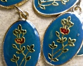 Vintage  blue enamel flower   charm drop pendant   quantity 2 pieces  ZZ4  french blue and red gold