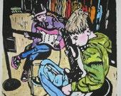 After School Guitars - Original Woodblock Print