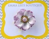 Lavender Glittery Velvet Flower Hair Clip