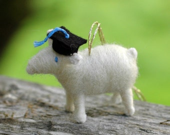 Grad Lamb - Needle Felted Graduation Ornament