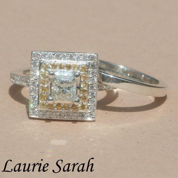 Moissanite Engagement Ring - Moissanite, Yellow Sapphire and CZ Ring, Diamond Alternative Wedding Set in Fine Gold - LS1078