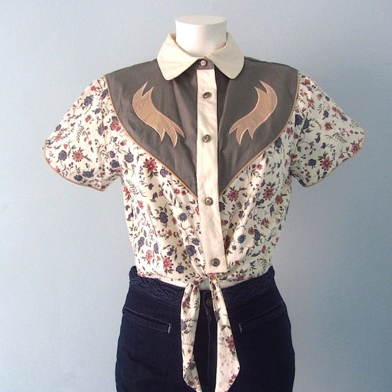Vintage Western Shirt // Crop Top // Flower By