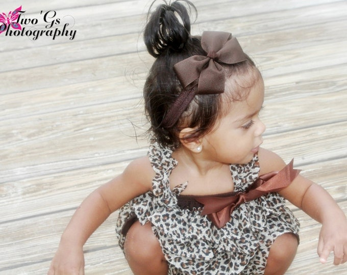 Brown Bow Band - Brown Bow on an Elastic Headband Baby Infant Toddler - Girls Hair Bows