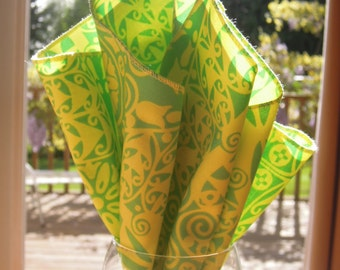 Set of 4 Organic Cotton Napkins, Table Linens, Amy Butler, Green, Yellow, Printed Napkins