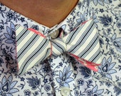 Reversible Bow Tie - Medium -  Blue Striped and Pink Floral