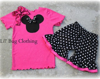 Custom Boutique Clothing Black White Polka Dot Hot Pink Tee Minnie Mouse Outfit