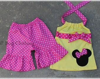 Custom Boutqiue Minnie Mouse Short Set size 3m 6m 9m 12 18 24 2t 3t 4t 5t 6 7