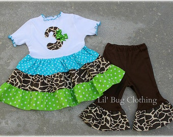 Custom Boutique Clothing Birthday Girl Giraffe Aqua Lime And Cocoa Tiered Top And Capris