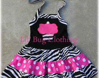 Custom Boutique Clothing Zebra and Pink Dots Cupcake Birthday Tiered Halter Dress