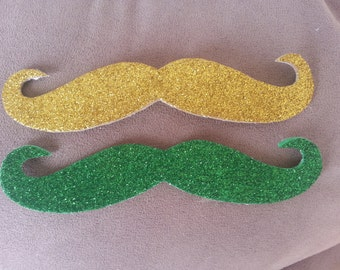 St Pattys Day Mustaches, St Patricks Day Mustache 50 Pack, Green glitter adhesive mustache, gold glitter adhesive mustache