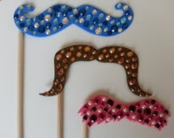 Choose Your Own Foam Bedazzled Mustache on a Stick Photo Booth Props, Jeweled Mustache on Stick, Bedazzled Mustache