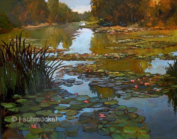 Lilies On The Creek - Giclee Fine Art PRINT of Original Painting matted 16x20 by Jan Schmuckal
