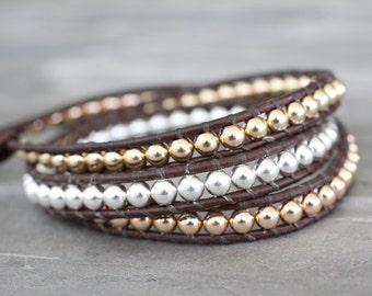 Gold and Silver Leather Wrap Bracelet. Rose Gold, Sterling Silver and Yellow Gold Triple Wrap
