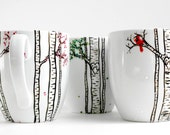 The Four Seasons Birch Tree Collection - 4 Large Personalized Mugs in Winter, Spring, Summer and Fall