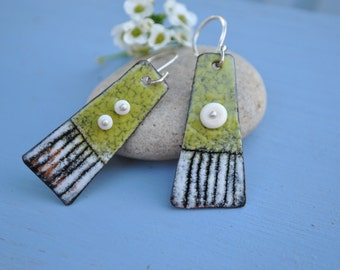 Green and White Torch Fired Dangle Earrings