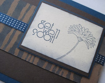 Get Well Handmade Greeting Card Browns and Blues Handmade