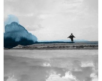 Course ( Landscape Photography - Fine Art Print - Beach - Silhouette - Child - Watercolor paints - Black and white - Blue)
