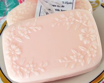 Goat's Milk Soap - Sweet Pie Sweet Pea Scent - Floral Cherry Blossom Design Soap - Goats Milk - Pink