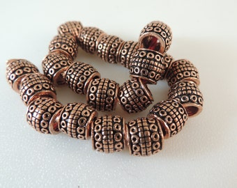 Bali Inspired Large Hole Genuine Pure Copper Cylinder Beads