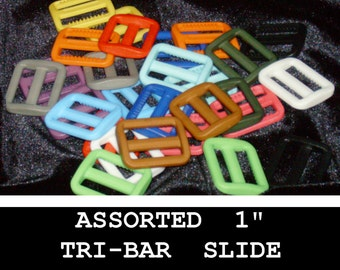 "28 PIECES - 1"" - Slide Strap Adjuster, 1 inch, Heavy Duty Polyacetal Plastic, 25.4mm, Tri Bar, Mixed Colors"