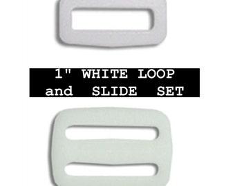 """20 SETS - 1"""" - Regular Mouth Slide and Loop SET, Tri Bar, 25.4mm - Black or White"""