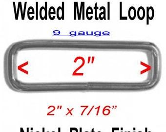 "10 PIECES - 2"" - WELDED Rectangular Loop Ring, 2 inch, 50.8mm, Nickel Plate Finish, 9 GAUGE"