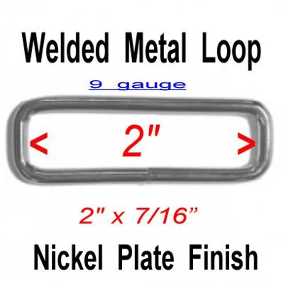 "20 PIECES - 2"" - WELDED Rectangular Loop Ring, 2 inch, 50.8mm, Nickel Plate Finish, 9 GAUGE"