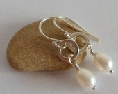 Sterling Silver Pearl Earrings: White Freshwater Wire Wrapped