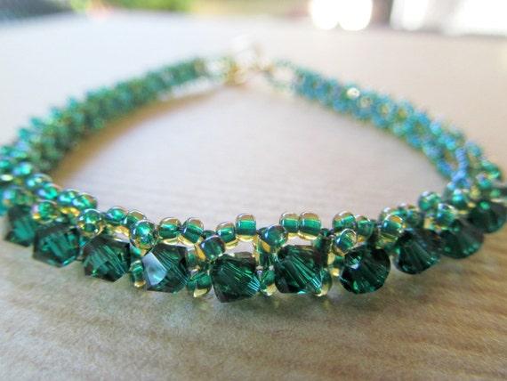 Emerald Green Tennis Bracelet with Swarovski Crystals - READY TO SHIP